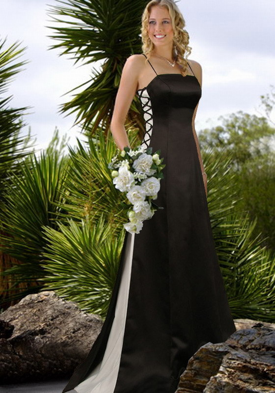 white wedding dress with black. Gothic Black and white